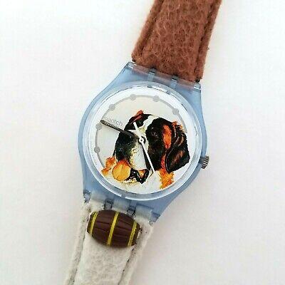 Barry Swatch Watch Saint Bernard 1995 VTG GN152 Felt Leather Band New Battery