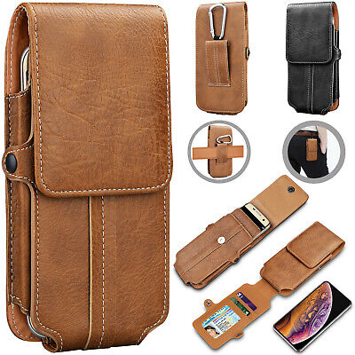 Vertical Leather Cell Phone Pouch Card Holder Case With Belt Clip Holster Wallet Holsters Luxurious Leather Case