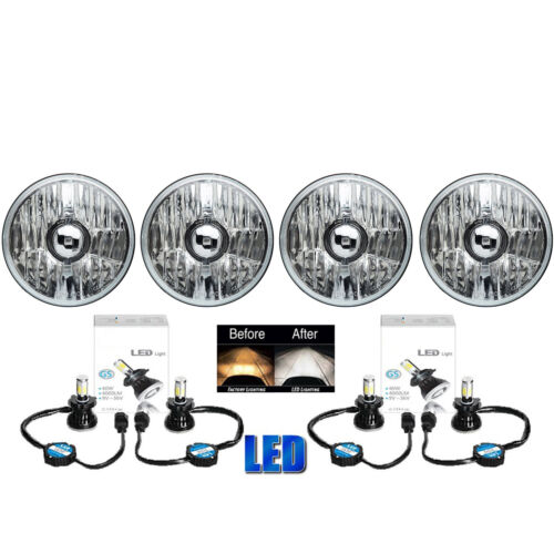 5-3/4 Crystal Clear Metal Glass Headlight LED 4000Lm H4 Light Bulb Headlamp Set