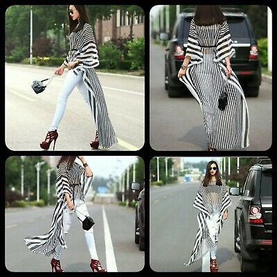 Black Dolman Sleeve (Lovely Chic Black White Striped Dolman Sleeve Long Train Tunic Cover-UP  S/L)
