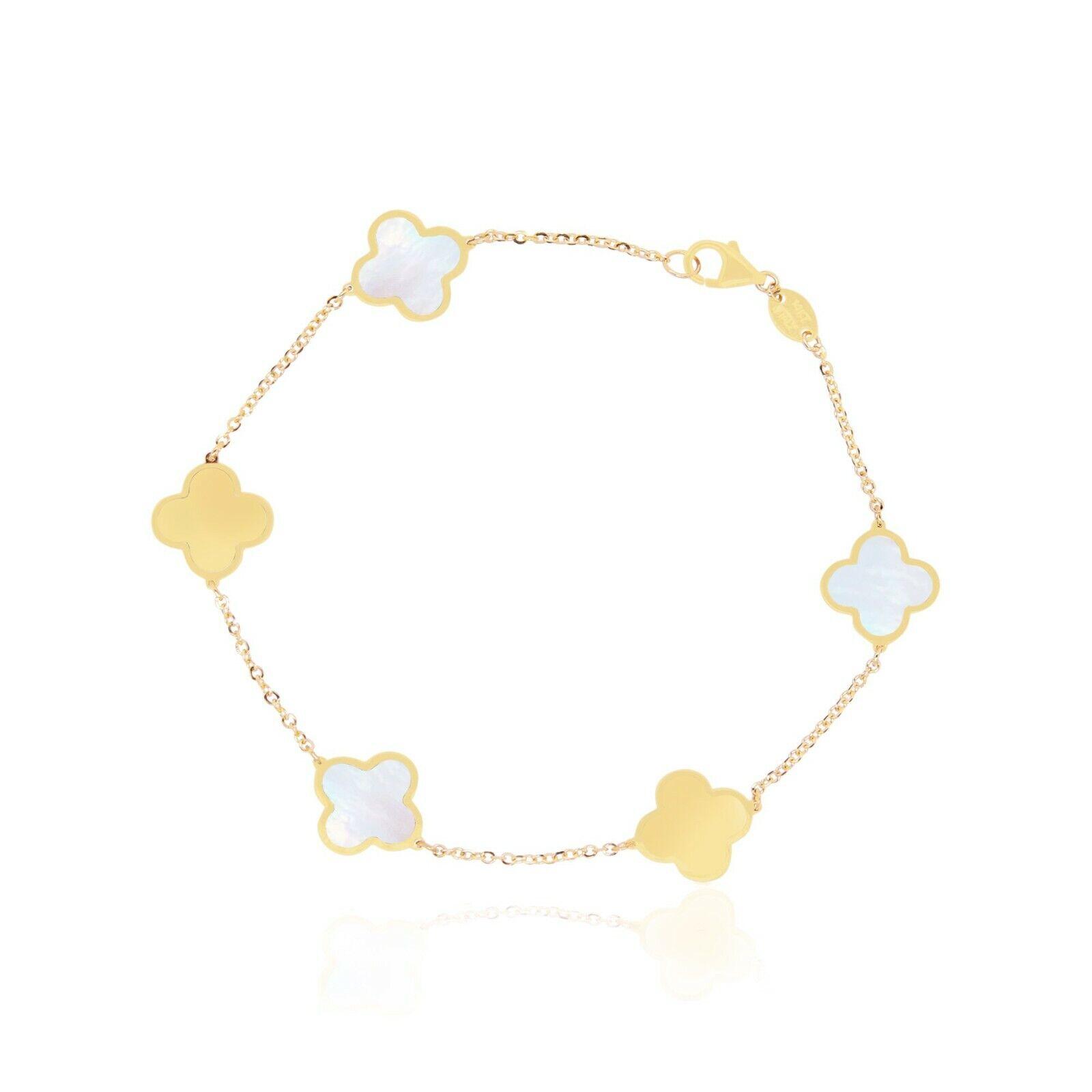 14kt Yellow Gold Clover Bracelet in Variety of Gems, Women Gold Bracelet B100 3