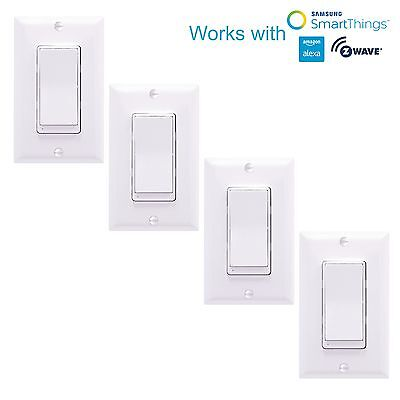 ZW15SM Z-Wave Switch Home Automation Controller Light Switch Alexa - 4 Pack