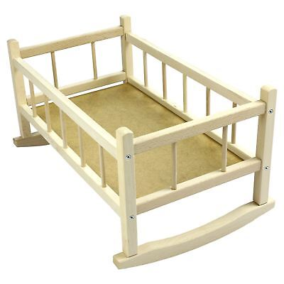 New LARGE DOLLS WOODEN ROCKING BED COT CRIB 18''