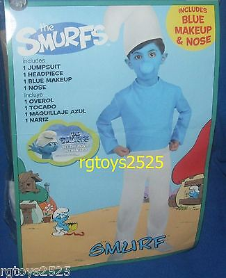 The Smurfs SMURF Costume New Size Small 4-6 Boys Blue Child - Kids Smurf Costume