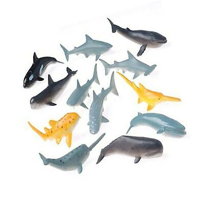 US Toy Lot of 12 Assorted Whale And Shark Toy Figure 1-Pack Action Figure Assortment 12 Figures