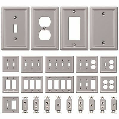 Wall Switch Plate Outlet Cover Toggle Duplex Rocker - Brushed / Satin Nickel Duplex Outlet Switch Plate