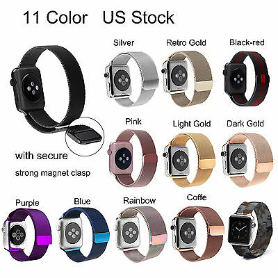 9 Color Magnetic Milanese Stainless Steel Strap Band For Apple Watch Series 2 1
