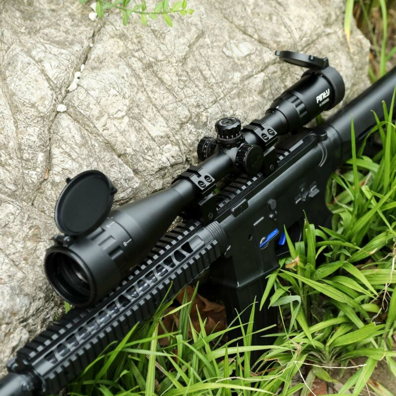Pinty 6-24x50AO RGB Mil Dot Riflescope Combo With Sunshade Flip-Up Caps Rings - $39.09