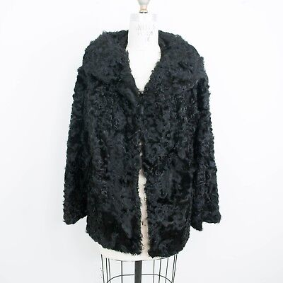 50s Womens Hair (VTG 50s Womens Stanley Furs Persian Lamb Coat M/L Black Curly)