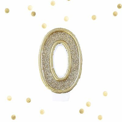 Light Gold Glitter Birthday Candle Number 0 Gold & White Cake Topper Zero