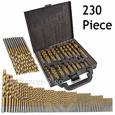 230 Bit Titanium Coated HSS Steel Drill Bits Set Wood Metal Case Small - Large
