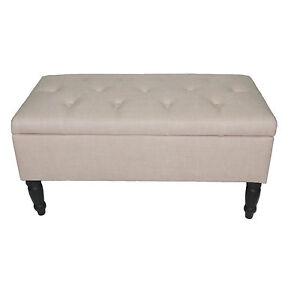 banc banc coffre banc tissu banc impressionen 80x40x40 cm beige ebay. Black Bedroom Furniture Sets. Home Design Ideas