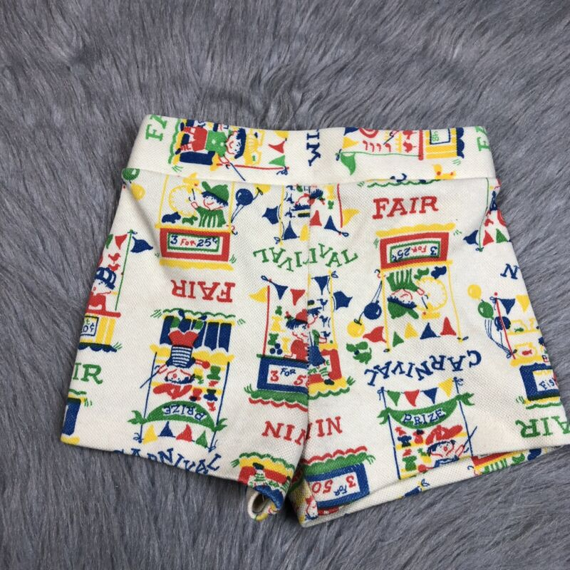 Vintage Toddler Girls Carters Carnival Print Shorts