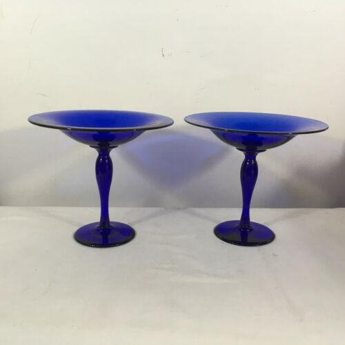 Pair Antique Pairpoint Cobalt Blue Blown Glass Compotes Comports