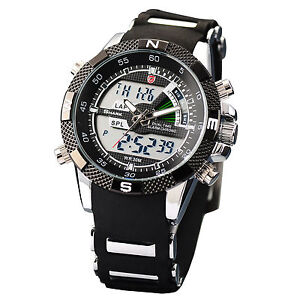 New-Mens-SHARK-Dual-Time-LCD-Digital-Analog-Quartz-Sport-Wrist-Watch-Rubber-Band