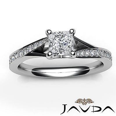 Classic Side Stone Pave Princess Diamond Engagement Ring GIA D Color SI1 0.85Ct 3