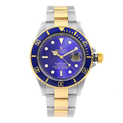 Rolex Submariner Date Steel 18K Gold Blue Dial Automatic Mens Watch 16613T