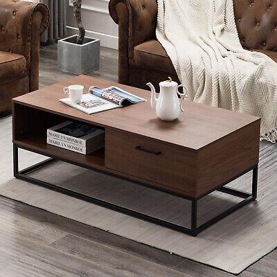 Modern Wood Coffee End Side Table W/1 Drawer and Storage Shelf Home Furniture 1 Side Shelf