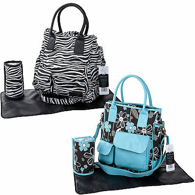 Yummy Mummy Large Designer Changing Bag Zebra Black Blue Mat Baby Nappy Diaper