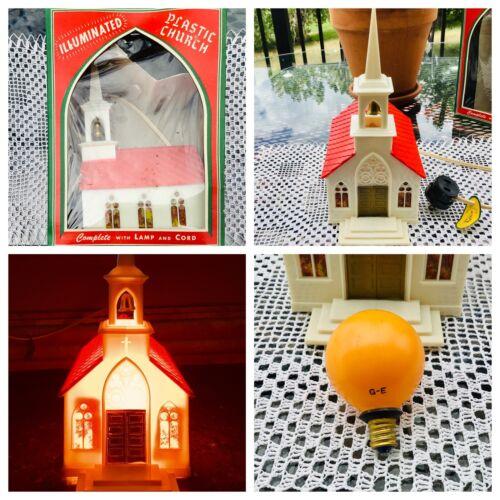 Christmas Glo Lite ILLUMINATED HARD PLASTIC CHURCH + BOX VTG