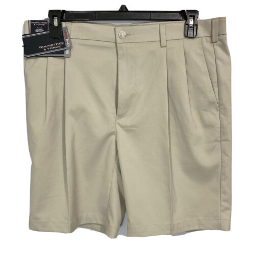 Roundtree & Yorke Caribbean Mens Chino Shorts 40 40T Tall Man Pleated 11″ Stone Clothing, Shoes & Accessories