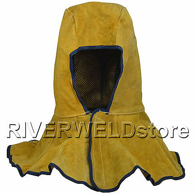 Yellow Welding Hood Cowhide Split Leather Hood With Neck Shoulder Drape