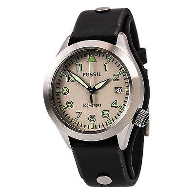 Fossil AM4552 Men's The Aeroflight Beige Dial Black Strap Watch