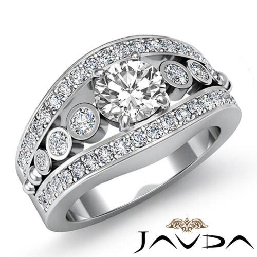 Pave Set Round Cut Diamond Engagement Halo Ring GIA F VS1 14k White Gold 2.25ct