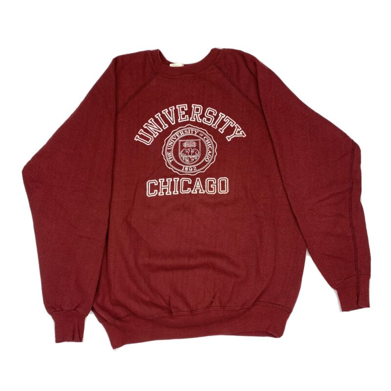University Of Chicago Sweatshirt XL Vtg 80s Champion Raglan USA Made