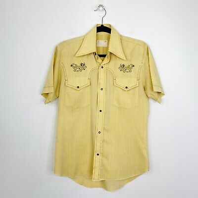 1970s Men's Shirt Styles – Vintage 70s Shirts for Guys Vintage 70s Mens Shirt Yellow Disco Butterfly Collar Pearl Snap Size S $32.64 AT vintagedancer.com