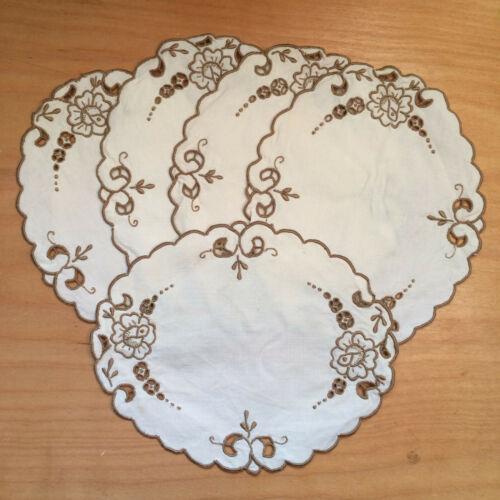 "Set of 5 Antique Madeira Work Embroidery Doillies Oval Beige Linen 7"" x 8.5"""