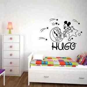 Pegatina vinilo mickey minnie luna bebe nombre pared for Pegatinas habitacion infantil