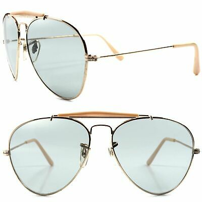 Classic Vintage Retro 80s Fashion Gold Light Tint lenses Mens Womens (Lightly Tinted Sunglasses)