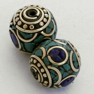 Turquoise Lapis Brass 2 Beads Nepalese Tibetan Handmade Tibet Nepal UB2465