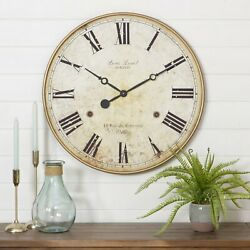 Large Wall Clock Big Vintage Rustic Antique Oversized Elegant Wooden Frame 30 in