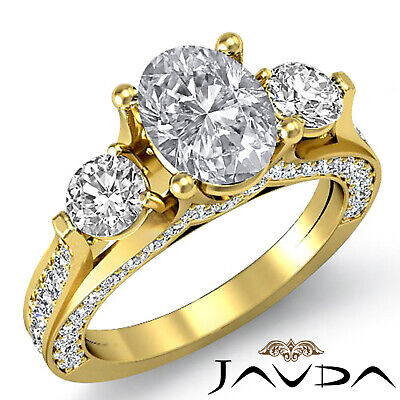 4 Prong Setting 3 Stone Oval Diamond Engagement Cathedral Ring GIA H SI1 2.3 Ct 6