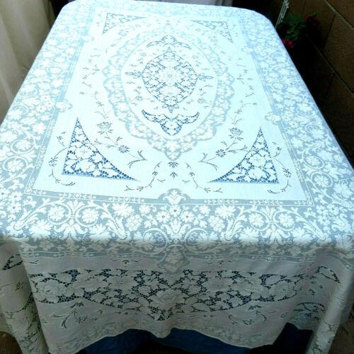 Vintage White House Pattern Quaker Lace Cotton Tablecloth 72x91