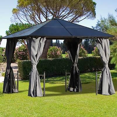 Garden 3x3m Patio Hardtop Gazebo Polycarbonate Outdoor w/ Netting Curtain