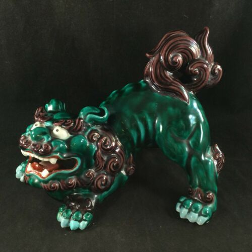 """LARGE ANTIQUE CHINESE FOO DOG-GREEN & BROWN-SIGNED 10"""" x 8"""" x 7.5"""" EXCELLENT"""