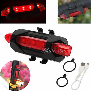 Bike Cycle Front Rear Taillights USB Rechargeable 5 LED Light Tail Flash Light
