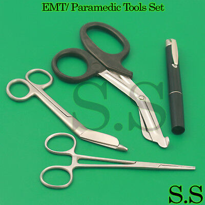 Black Emt Paramedic Tools Medical Bandage Scissors Shears Including Penlight