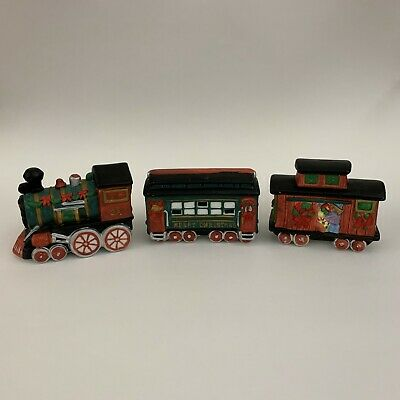 Train Set Porcelain 3 Pieces Hand-Crafted Merry Christmas Holiday Decorations