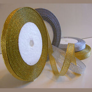 Organza Ribbon - Sparkle / Glitter - Gold and Silver - 6mm and 10mm  - FREEPOST