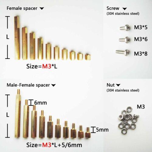 25/50/100pcs Brass M2 M3 Hex Column Standoff Support Spacer Screw Nut PCB Board