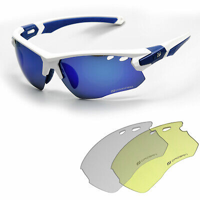 Daisan IREK Fahrradbrille Radbrille Herren mit Wechselscheiben klar gelb blau