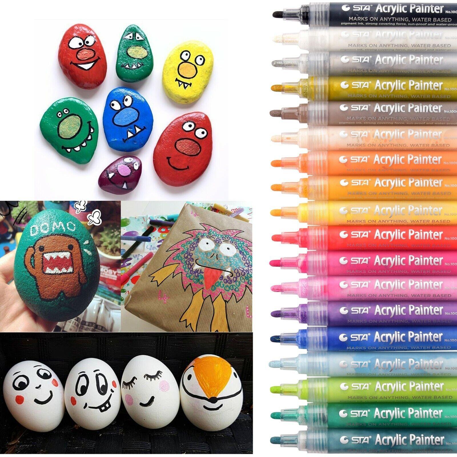 Acrylstifte Marker 18 Farben Stifte Set Acrylic Painter Filzstift DIY Steine