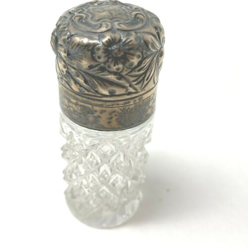Antique Gorham Sterling Silver repouse and Brilliant Cut Glass perfume bottle