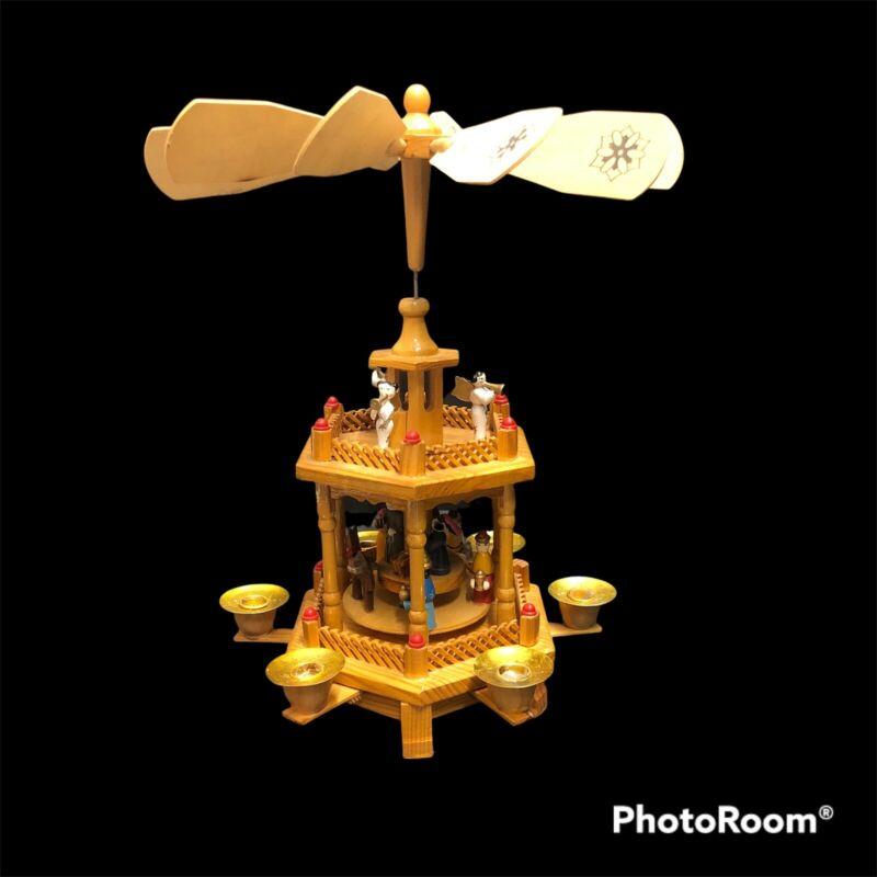 "Vintage Joybrite Wood Windmill Christmas Nativity 12"" Carousel Candle Holder"