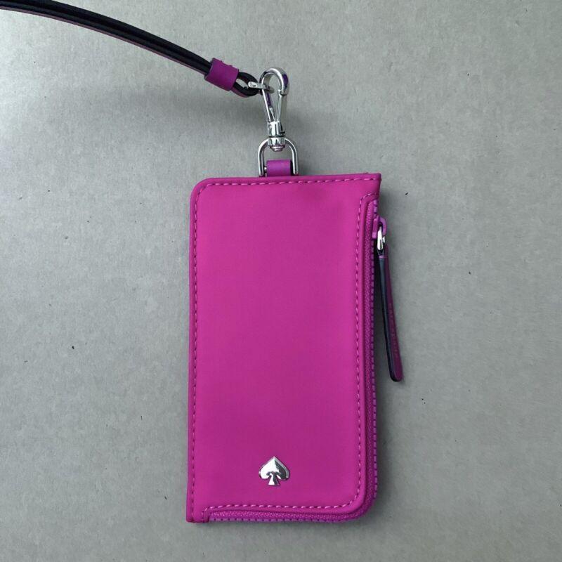New Kate Spade Jae ID Badge Holder Card Case Nylon Lanyard Bright Magenta