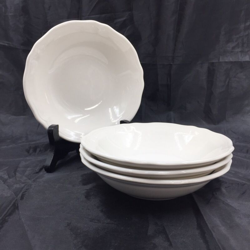 Federalist Ironstone White Cereal or Soup Bowl 6.5 Inches 4238 Vintage Lot of 4